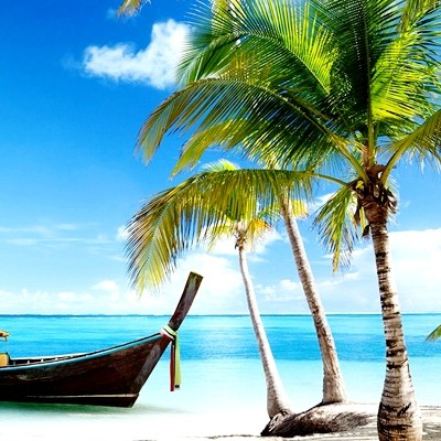 Boat-Tropical-Beach-Wallpaper